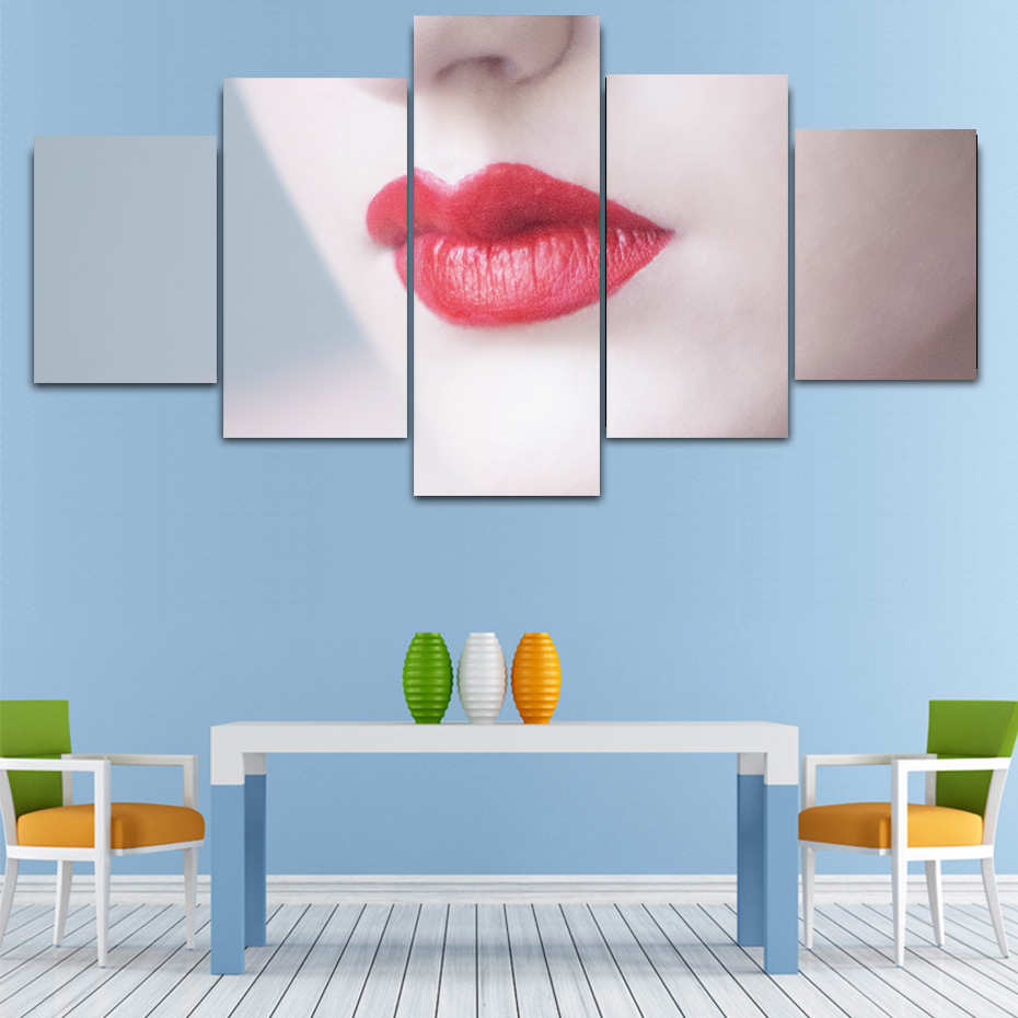 Red lip Makeup beauty 5 pieces HD prints canvas poster wall art painting artwork murals home decor modern picture dressing room in Painting Calligraphy from Home Garden