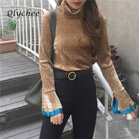 Fashion Women S Cuff Split Patchwork Turtleneck Ruffle Velvet Flare Sleeve Shirt Femme Autumn Wear O