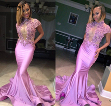 Pink 2019 Prom Dresses Mermaid Appliques Lace Elegant Plus Size Party Women Long Gown Evening Robe De Soiree