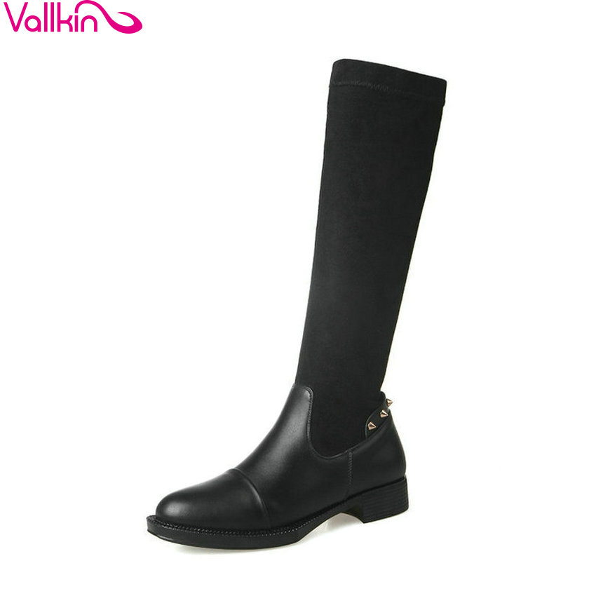 VALLKIN 2018 Women Boots Stretch Fabric Square Low Heels Knee-high Boots Round Toe Spring and Autumn Ladies Boots Size 34-43 vallkin 2018 lace up women boots rhinestone square high heel over the knee boots stretch fabric wedding ladies boots size 34 43