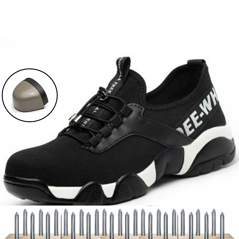Steel toe shoes Kevlar bulletproof midsole men safety shoes lightweight breathable work rubber shoes 35-46 size New street card