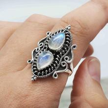 New Water Drop Pear Shape Moonstone Ring 925 Sterling Silver Retro Thai Silver Ring for Women Jewelry Gift цена и фото