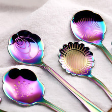 5 Pcs Colored Stainless Steel Flower Spoon Coffee Tea Ice Cream Dessert Cake Spoons Hot Sale