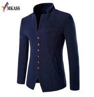 MKASS Blazer Men 2017 Autumn New Style Stand Collar Male Blazer Slim Fit Mens Blazer Jacket Fashion High Quality