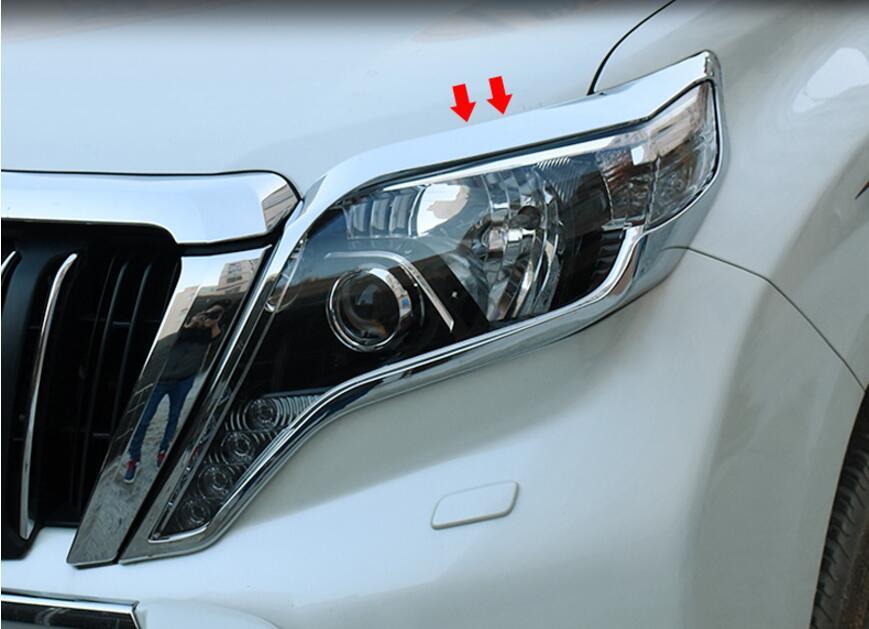 JINGHANG ABS Chrome voiture phare avant + feu arrière couvercle de lampe garniture pour 10-17 Toyota LAND CRUISER PRADO 120 2010-2017