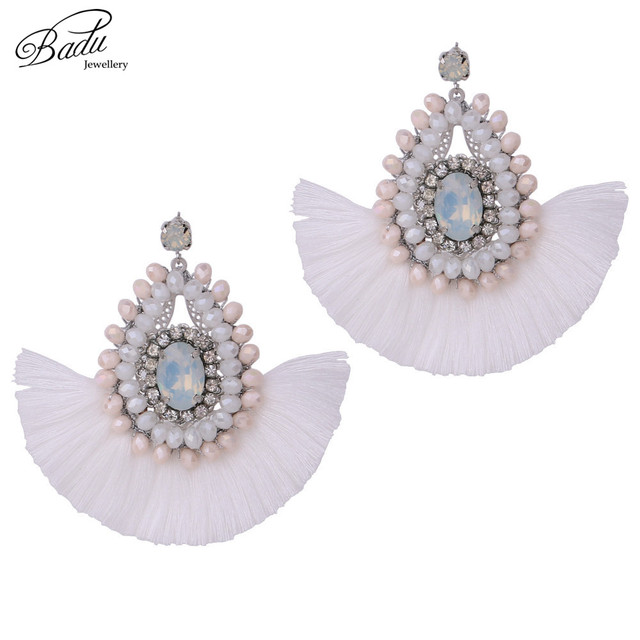 Badu Crystal Baroque Fringe White Earring Women Black Tel Chandelier Dangle Earrings Winter Fashion Jewelry Christmas