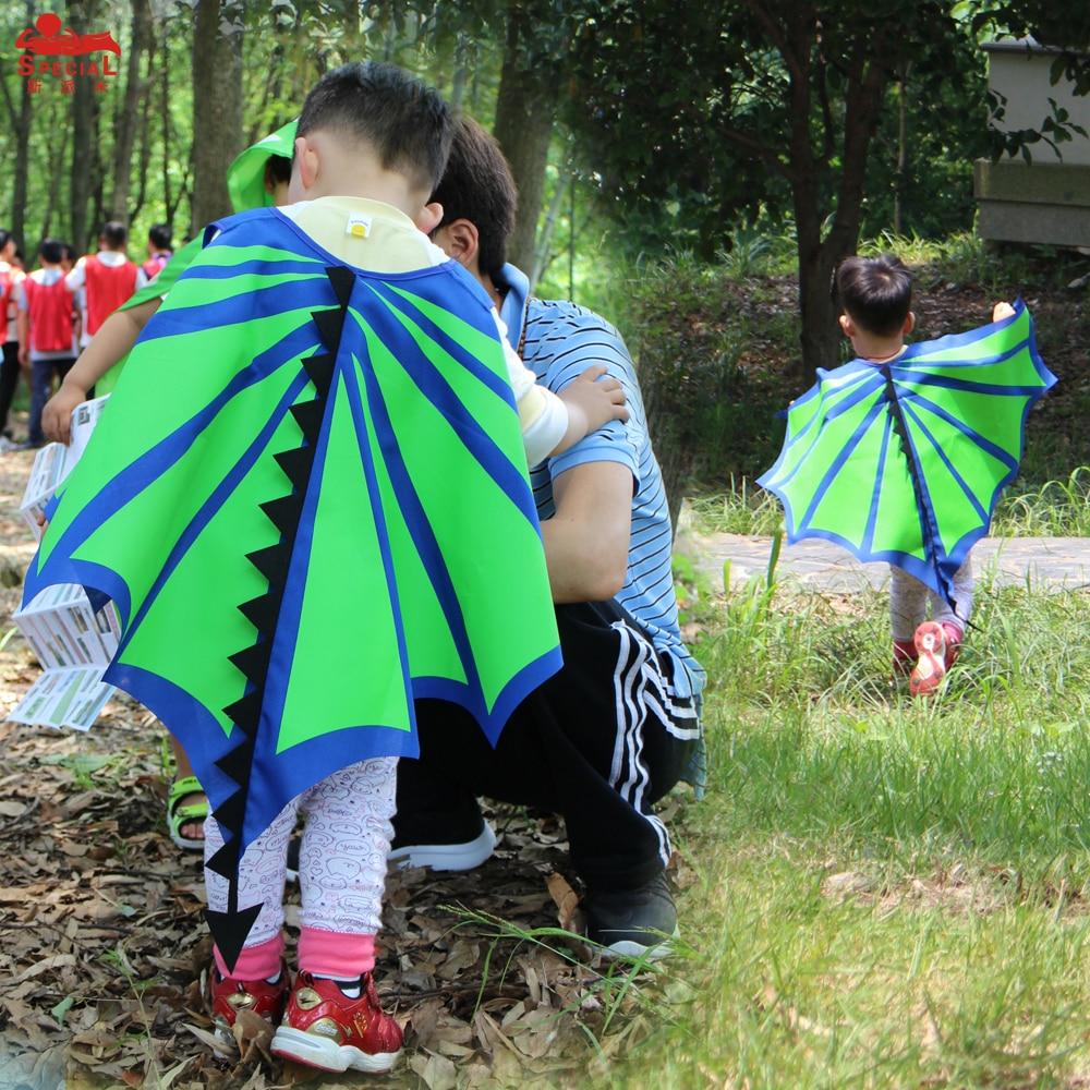 SPECIALE L35 * Dinosaurus groene vleugel cape + boven gezichtsmasker - Carnavalskostuums