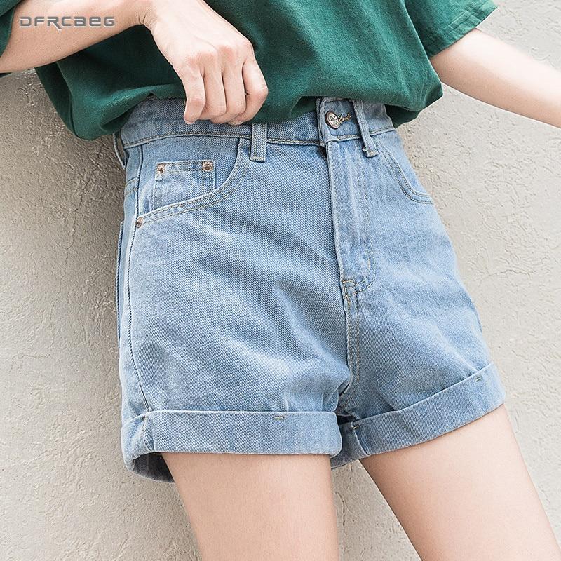 4cb61bd870 High Waist Vintage Slim Denim Shorts Women 2019 Summer New Fashion Elastic  Casual Crimping Plus Size Short Jeans Female