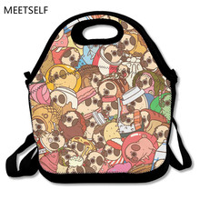 MEETSELF 3D Print Pugs Not Drugs Lunch Bags Insulated Waterproof Food Girl Packages men and women Kids Babys Boys Handbags