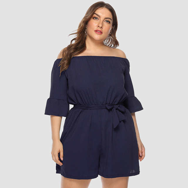 2019 summer New Women Off-Shoulder Playsuits Casual Lace Up Short-Sleeved  Loose Solid Sexy Playsuitst Rompers Plus Size 4XL 1