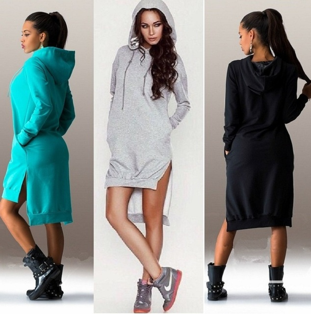 2b90534f29d US $8.7  Winter Autumn Women Dress Vintage Elegant Sport Dresses Sexy Long  Sleeve Pockets Black Gary Casual fleeces Womens Clothing-in Dresses from ...