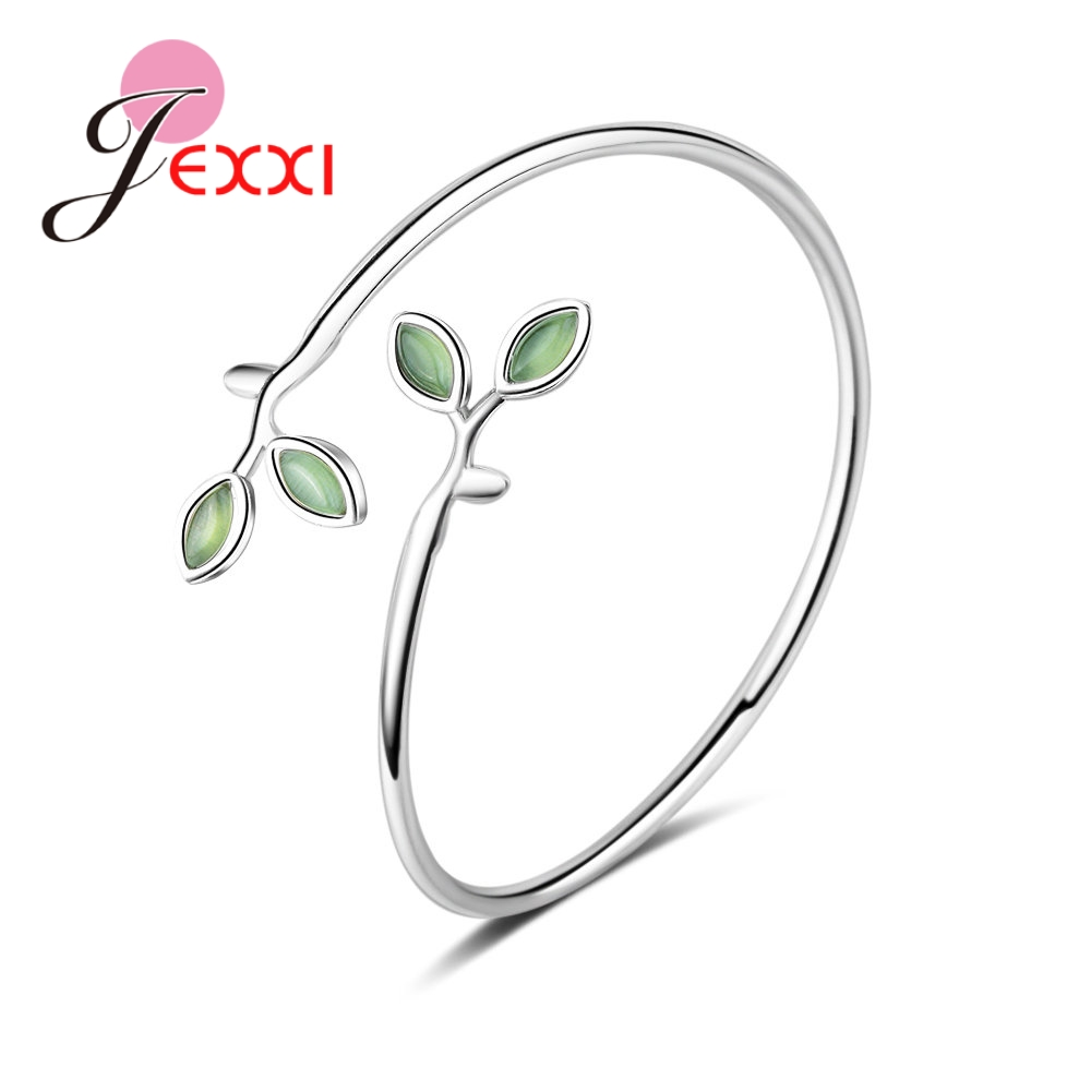 JEXXI Hot Selling Christmas Gifts For Mom Sister Real S90 Silver Adjustable Green Leaves Design Women Bracelet Bangles