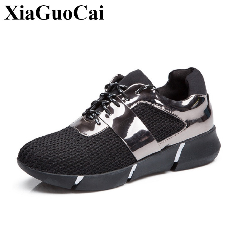New Fashion Causal Shoes Women Breathable Elastic Mesh Lace-up Platform Flats Shoes Black Soft Light Walking Shoes H492 35 new fashion women led shoes camouflage pattern usb charging light up shoes breathable glow in the dark shoes blue gray