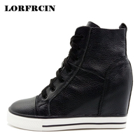 LORFRCIN Women Boots Genuine Leather Wedges Platform Boots Hidden Heel Shoes High Top Sneaker Nature Skin Casual Shoes For Woman