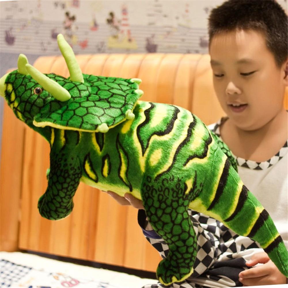 Fancytrader Pop Triceratops Dinosaur Plush Toy Big Stuffed Simulational Dinosaur Doll 60cm 24inch 3 Colors