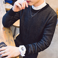 2016 black round collar sweater man is 100% pure hedge solid new cotton sweater fashion men's sweaters  Free package mail