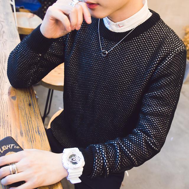 2016 negro de cobertura suéter de cuello redondo hombre es 100% puro sólido nuevo algodón suéter suéteres de moda hombre paquete Gratuito correo
