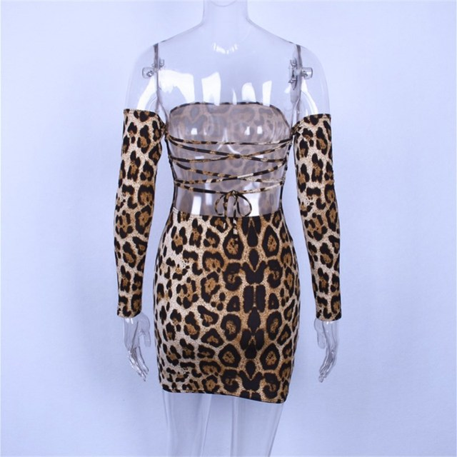 Off shoulder leopard print bodycon mini dress