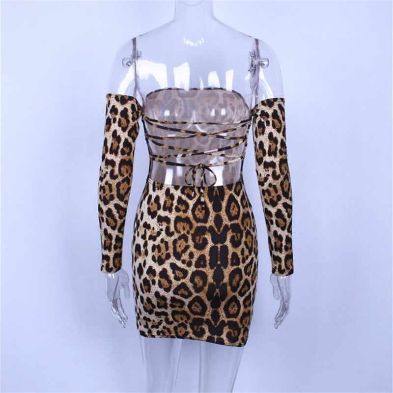 Hugcitar с открытыми плечами длинным рукавом леопардовое леопард принтом принт сексуальные облегающее обтягивающее мини платье платья поатье 2019 осень осеннее зимнее зима женское женские женщин клубное одежда