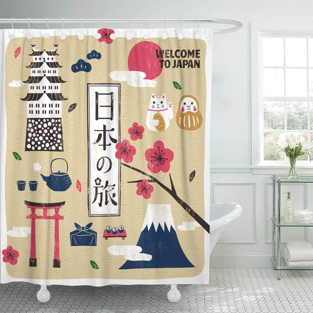 Fabric Shower Curtain with Hooks Japan Travel Traditional Culture Symbols Collection in Screen Japanese Word Placed The image