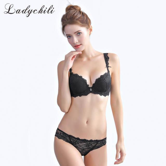 d39ef5ea32047 Online Shop Ladychili Wome Intimate Sexy Lace Push Up Bra Set Pink Lingerie  Set See Through Soutien Gorge Transparent Panties Bra Suits N360
