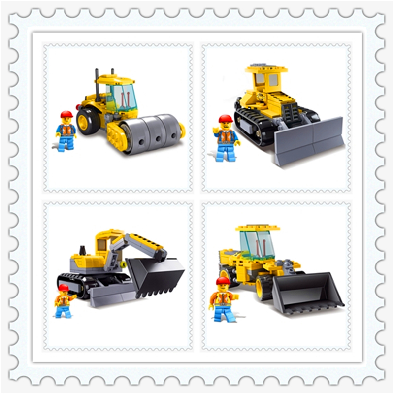 KAZI 8027-8030 Engineering Bulldozer Trans Roller Excavator Robot Building Block DIY  Toys For Children Compatible Legoe decool 3114 city creator 3in1 vehicle transporter building block 264pcs diy educational toys for children compatible legoe