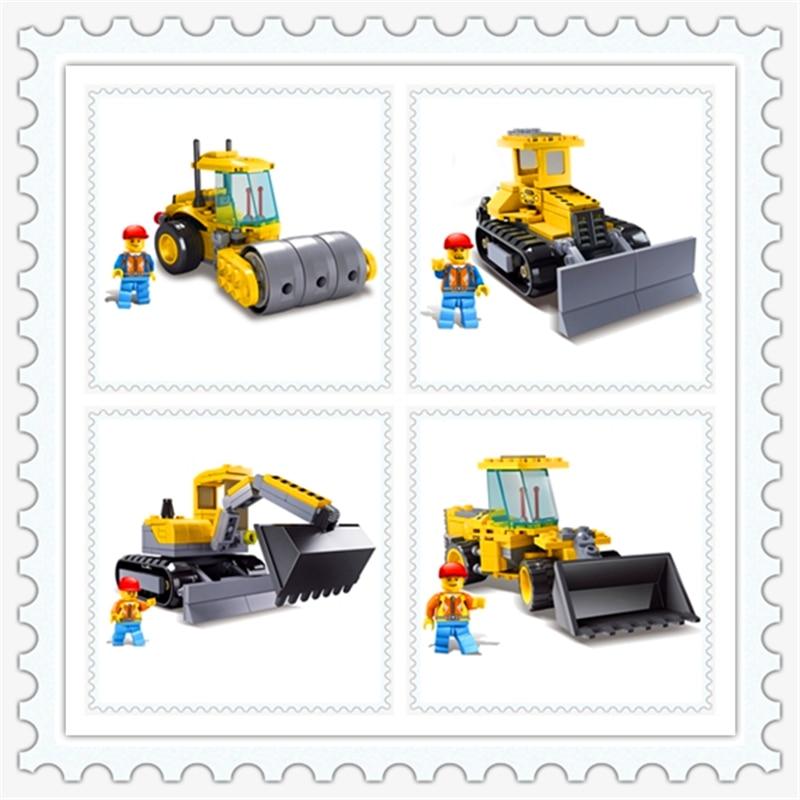 KAZI 8027-8030 Engineering Bulldozer Trans Roller Excavator Robot Building Block DIY  Toys For Children Compatible Legoe