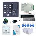 Kit completo de control de acceso biométrico de huellas digitales X6 + 180 KG cerradura magnética + fuente de alimentación + botón de salida + puerta campana + control remoto + tarjetas llave