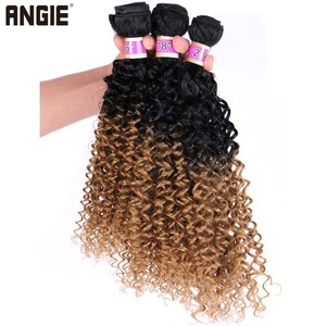 Angie Kinky Curly Hair Bundles 16 18 20 Inch Ombre Synthetic Hair Extensions Two Tone fiber Hair weave 70G/Pcs for women(China)