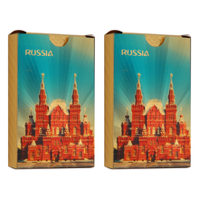 Gold Playing Cards PVC Waterproof Plastic Poker Gambling Gift Standard Game Russia (2Packs)
