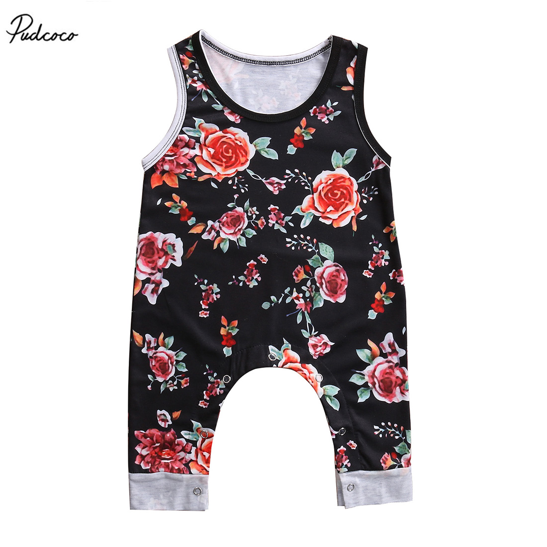 Newborn Infant Baby Girls Floral   Romper   Sleeveless Black Jumpsuit 2017 New Summer Clothes Outfits Sunsuit