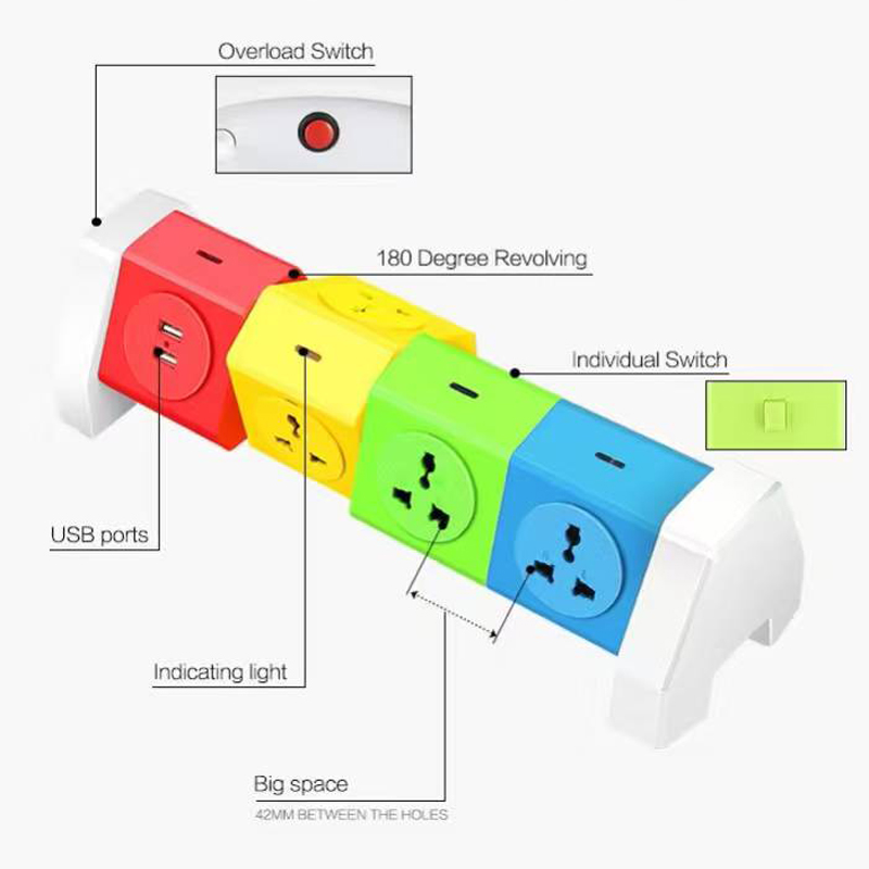 цена на Anysane Multifunctional Colorful Power Strip Plug with USB Port Fast Charging  USB Extension Socket Outle EU SB Extension Socket