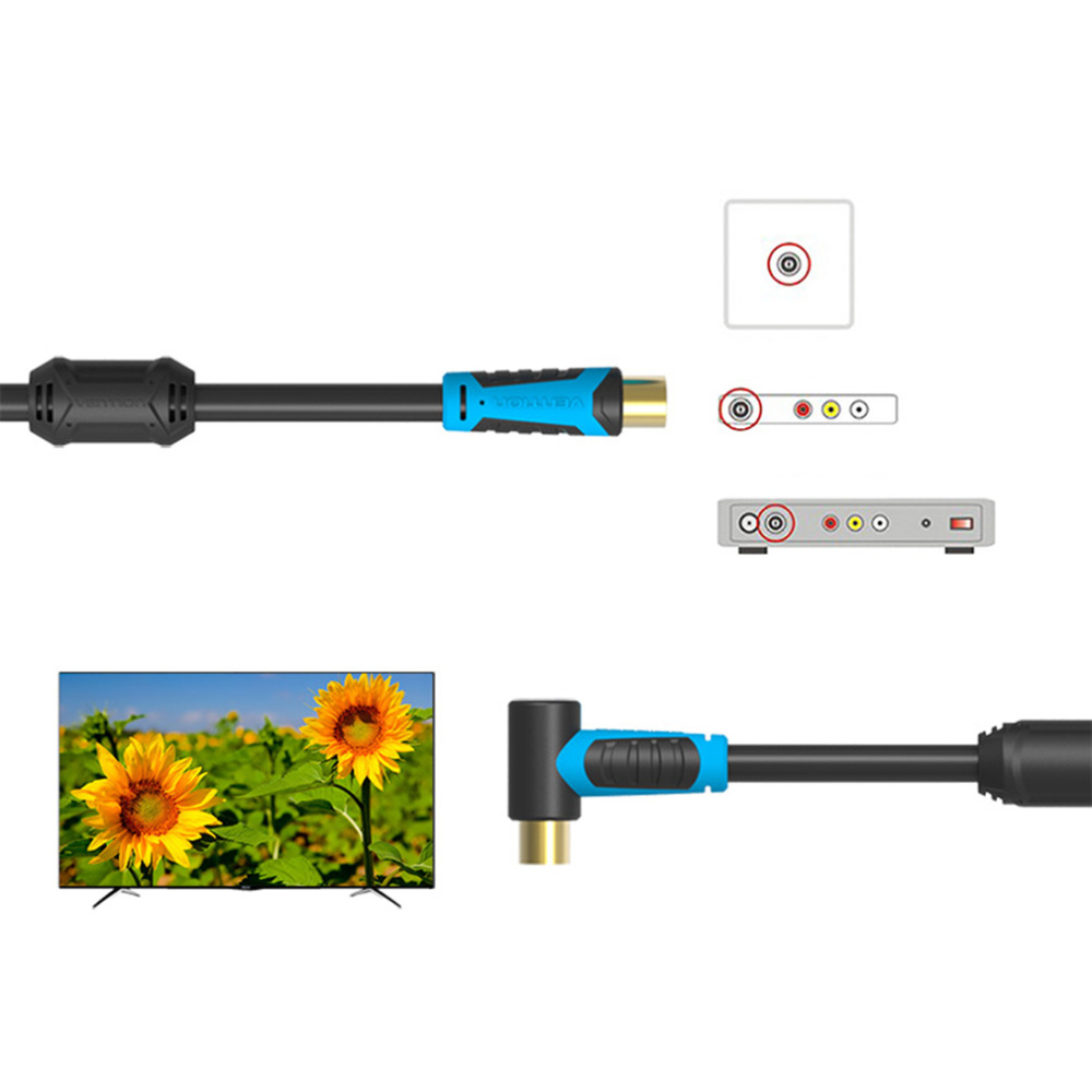Super Long VAV-A02 90 Degree TV HD Cable Male To Male TV Satellite Digital Coaxial HD Signal Cable 1m 2m