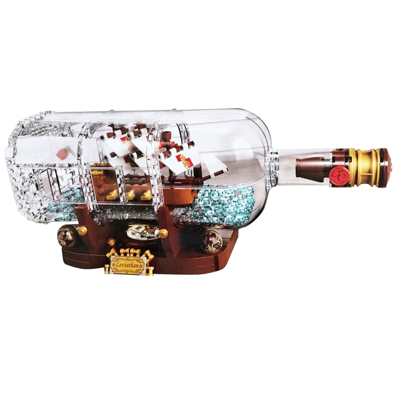 1078pcs Diy Pirates of the Caribbean The Ship In A Bottle Building Blocks Compatible With L Brand Bricks Toys For Children