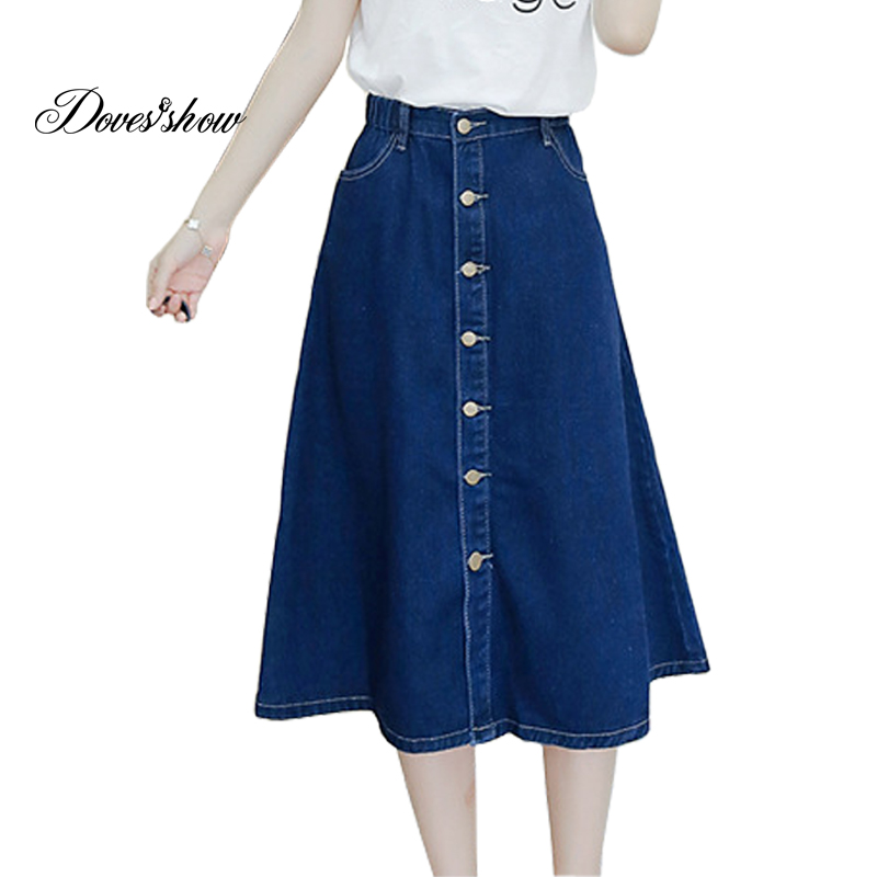 High Waist Denim Skirts Women Calf-length A line Plus Size Patchwork Stretch Jeans Skirts Elastic Loose Women Clothing 5XL