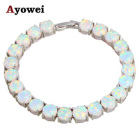 Mysterious Charm Bracelets Christmas Gifts For Lover White Fire Opal Silver Stamped Gorgeous Fashion Jewelry OB064A
