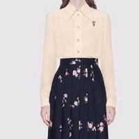 2019 Women'S Silk Blouse High Quality Fashion Solid Blouse Women Fashion Office Lady Peter pan Collar Silk Blouse
