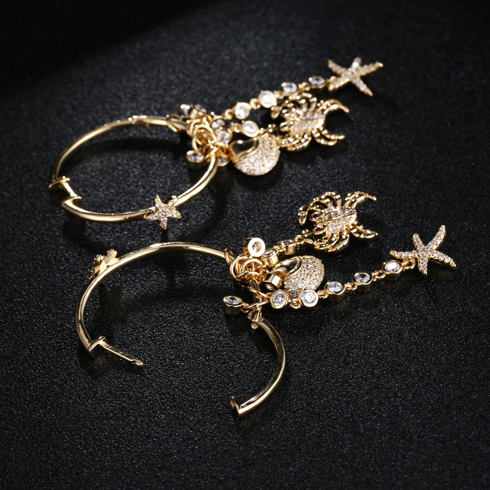 Luxury cubic Zircon stone crab shell star long tassel dangle earrings designer gold-color Party jewelry for women