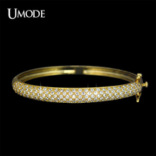UMODE Luxurious Party Jewelry Gold color 129 pcs 0.03ct Cubic Zircon simulated CZ Stone Pave Bangle Bracelets UB0039Abangle braceletpave bangle braceletspave bangle
