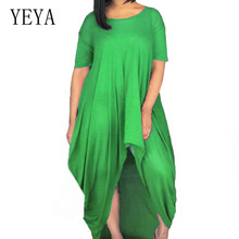 YEYA Summer Women Casual Short Sleeve O-neck Irregular Dress Fashion Hollow Out Female Leisure Club Party Plus Size XXL