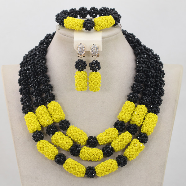 Gorgeous Black/Yellow Nigerian Wedding Beads Jewelry Set African Women Costume Crystal Party Necklace Set Free Shipping QW522 gorgeous faux crystal beads anklet for women