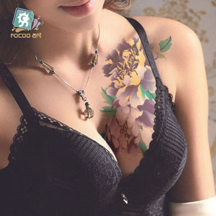 Rocooart QC651 677 20X10cm Colorful tatuajes temporales tattoo sleeves Body Art flowers Series Temporary Tatoos Sticker Taty in Temporary Tattoos from Beauty Health