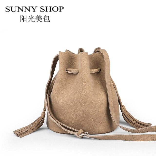 dc8b9497e965 SUNNY SHOP 2017 famous brand Vintage women messenger bags Tassel small shoulder  bags female handbags hobo Bucket crossbody bag
