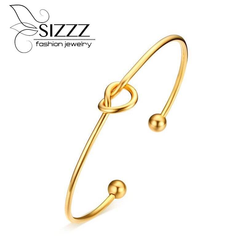 Sizzz Модные украшения 2 мм Диаметр Нержавеющаясталь завязывают Открытый браслет Золотое покрытие браслет для Для женщин