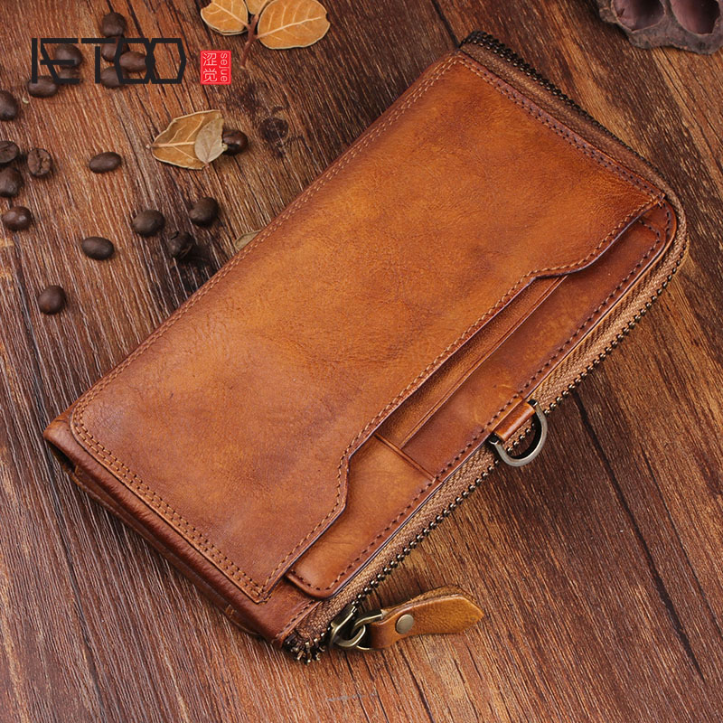 AETOO Original retro tide men's leather cell phone wallet multi-card bit leather handbag long zipper slim