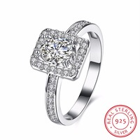 100 925 Sterling Silver Ring Female Wedding Decorations Jewelry Fashion Zircon Rings For Women Alliance Femme