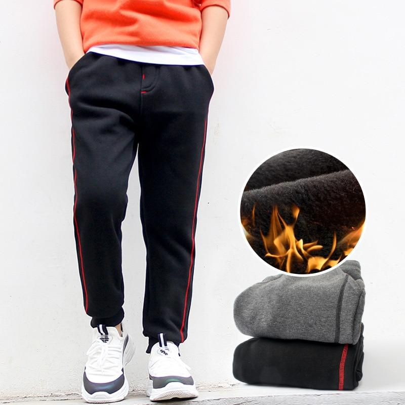 New Winter Warm Teenager Pants For Boys Warm Plus Fleece Boy Trousers Kids Sports Casual Pants Thicken Children Sweatpants