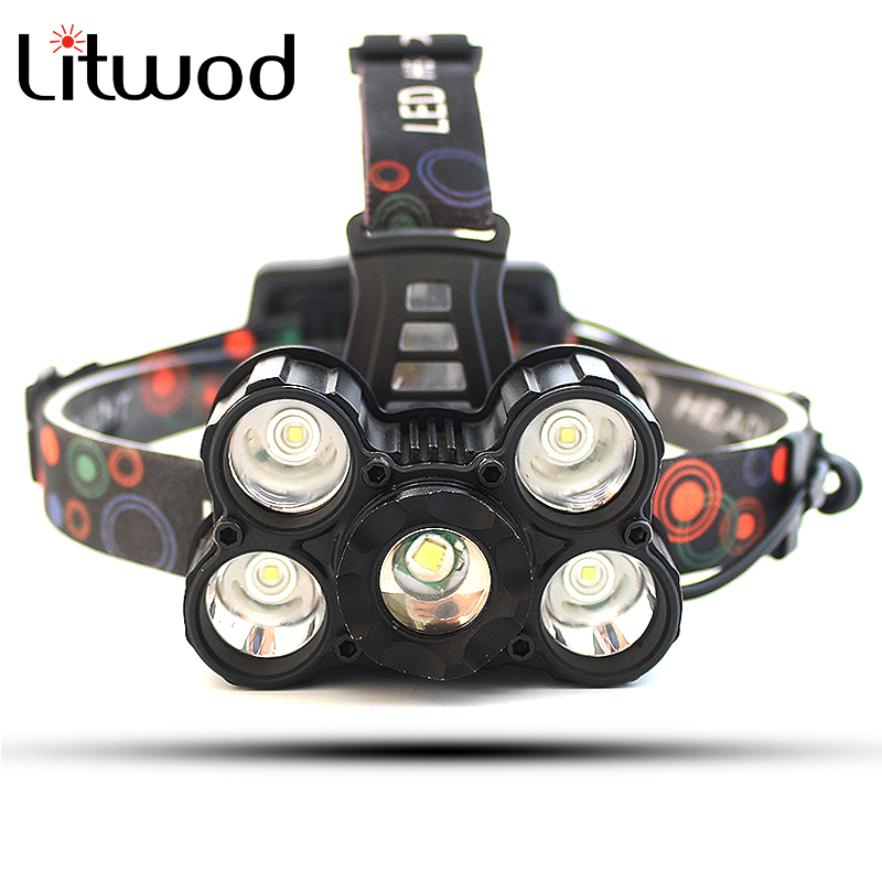 Litwod Z30 Led Headlamp 5 Chips XM-L T6 LED Headlight 9000 Lumen motorcycle Head Lamp Telescopic zoom flashlight 4 Switch Mode new 003a 3 mode white zoom led headlamp black 4 x aa