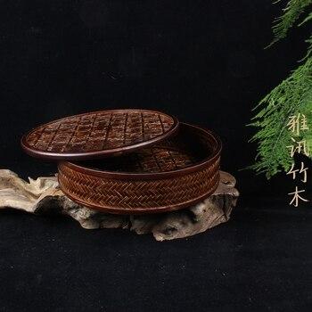 Japanese lacquer tea basket retro bamboo storage box storage basket with zero tea bamboo crafts