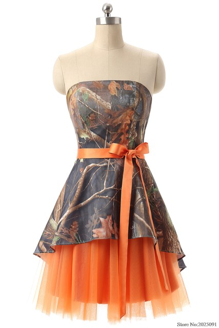 Online Shop Orange Camouflage Bridesmaid Dresses Plus Size Wedding ...